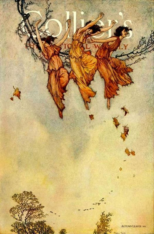 """Autumn Leaves"", Cover of Collier's Magazine, by illustrator Franklin Booth. November of 1911"