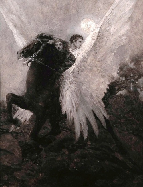 """Fast Flew the Black Winged Horse"" From the Book ""The Garden Behind the Moon. A Real Story of the Moon-Angel"" (1895) Written and illustrated by Howard Pyle pegasus"