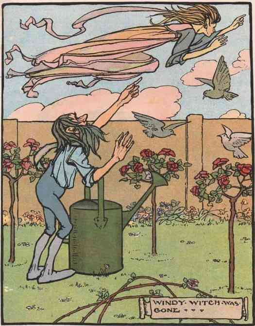 """""""Windy Witch was gone"""" an illustration from the short story """"Windy Witch"""" written by Helen Broadbent, included in the book """"Blackie's Children's Annual 1912"""""""