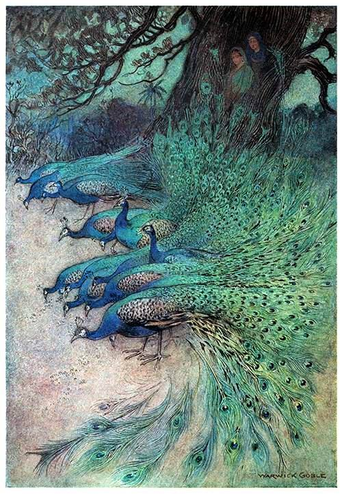 By Warwick Goble (1862-1943)--'Hundreds of peacocks of gorgeous plumes came to the embankments to eat the khai.'- Ill. f. Folk-tales of Bengal, Lal Behari Day (1912)