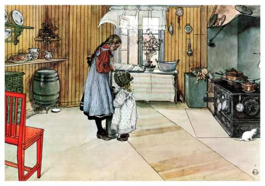 Carl Larsson Two girls in a kitchen