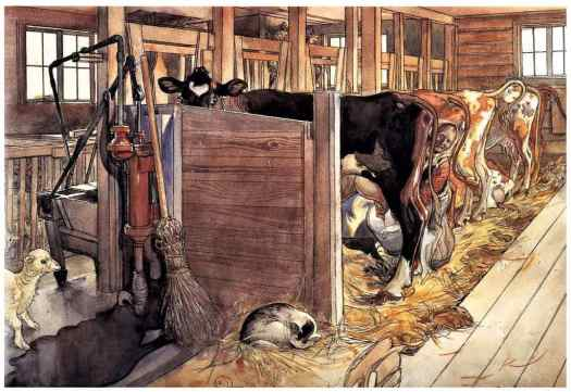 This watercolour illustration is by Carl Larsson
