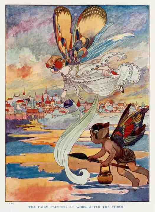 Charles Robinson The fairy painters at work after the storm