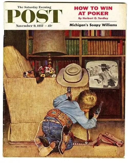 Illustrator - John P Falter (1910-1982) TV gun