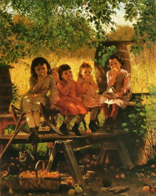 John George Brown (1831-1913) British-American  apple harvest