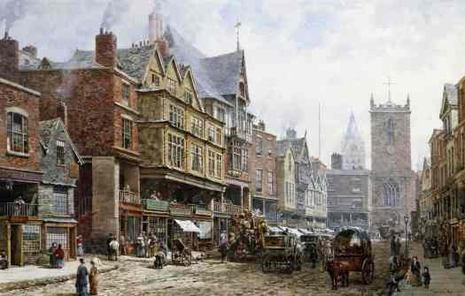 Louise Rayner - Chester, Bridge Street Looking North
