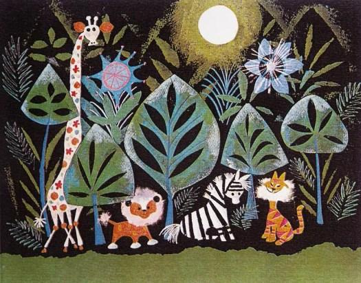 jungle animals at night by mary blair