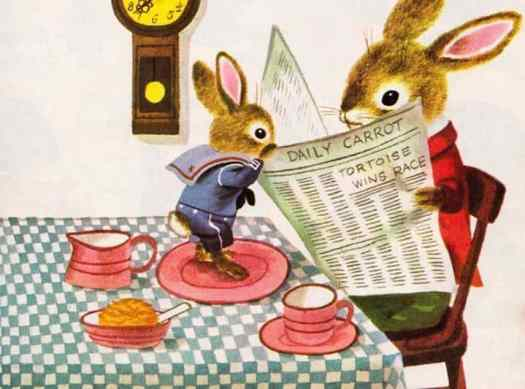 Richard Scarry reading the paper at breakfast