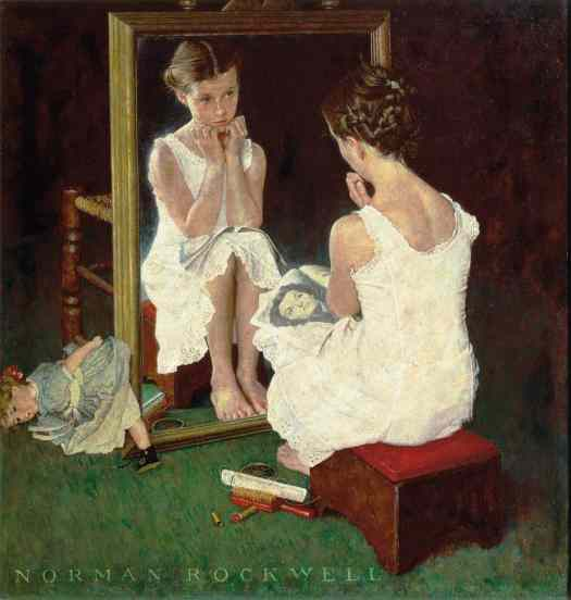 Rockwell's painting of the adolescent girl looking in the mirror--with her discarded doll sitting on the floor leaning against the frame