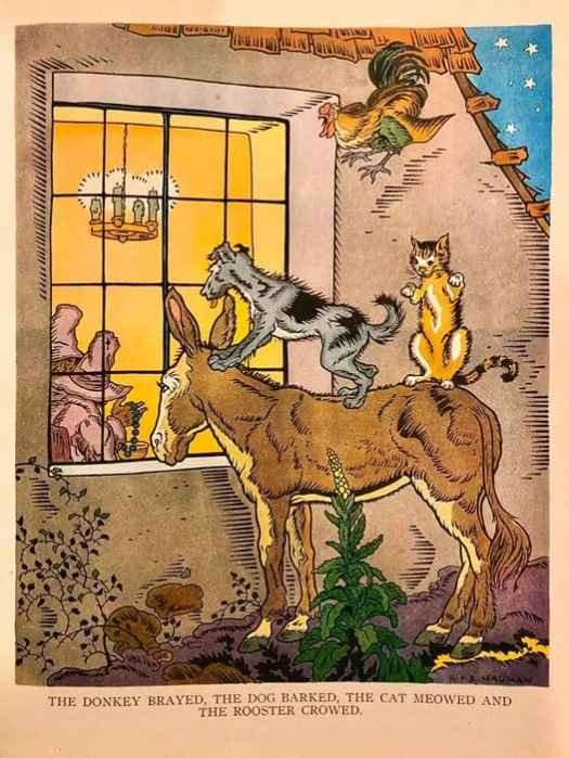 The Bremen Town Musicians illustration by George and Doris Hauman, from the book Tales From Storyland, edited by Watty Piper, 1941