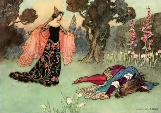 Warwick Goble (1862-1943), English children's book illustrator. Beauty and the Beast 1913