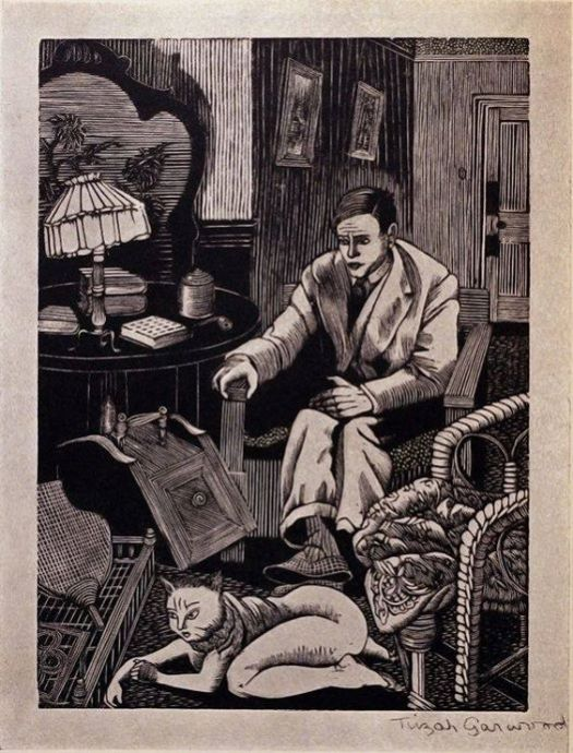 wood engraving by Tirzah Garwood Ravilious  The Cat Wife, 1930 a LaFontaine fable