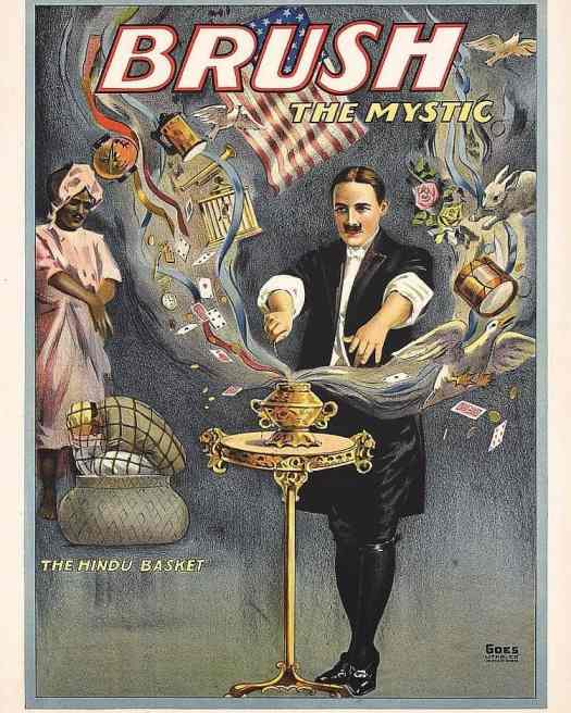 1920s Magic poster 'Brush The Mystic The Hindu Basket'