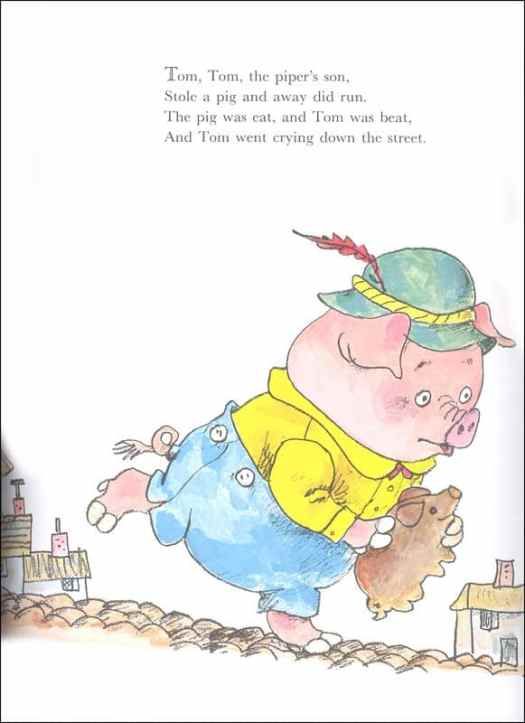 An illustration for the nursery rhyme Tom, Tom the Piper's Son. From Richard Scarry's Best Mother Goose Ever A Giant Little Golden Book
