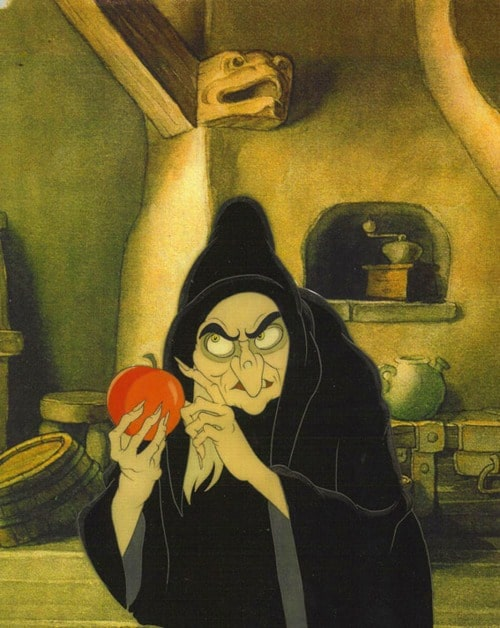 Animation cel of the witch from Walt Disney's Snow White and The Seven Dwarfs (1937) witch apple