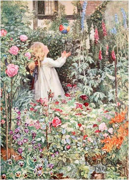 Child playing with ball in spring garden Illustration by Millicent Etheldreda Gray for poem by Robert Herrick