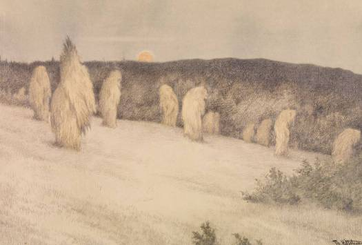 Corn Stacks in Moonlight 1900 Theodor Kittelsen