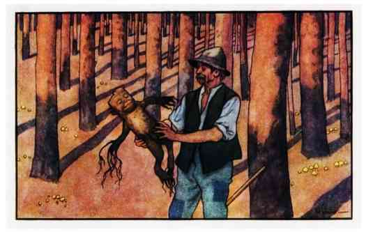 Early-twentieth century illustration by Artuš Scheiner (1863 – 1938). Stick men are a folk lore character from antiquity.