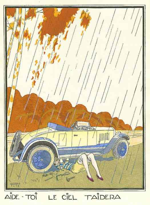 Ettore Tito c.1920 fixing car in the rain