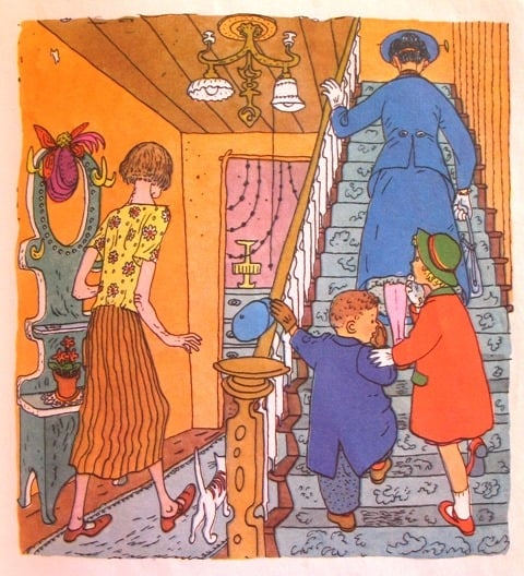From 'Mr. Wigg's Birthday Party. A story from Mary Poppins', a Little Golden Book 1952, illustrated by Gertrude Elliott. Based on Laughing Gas1934