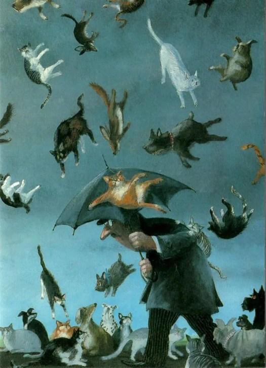 Gerhard Glück (German, b.1944) - Cats & Dogs umbrella