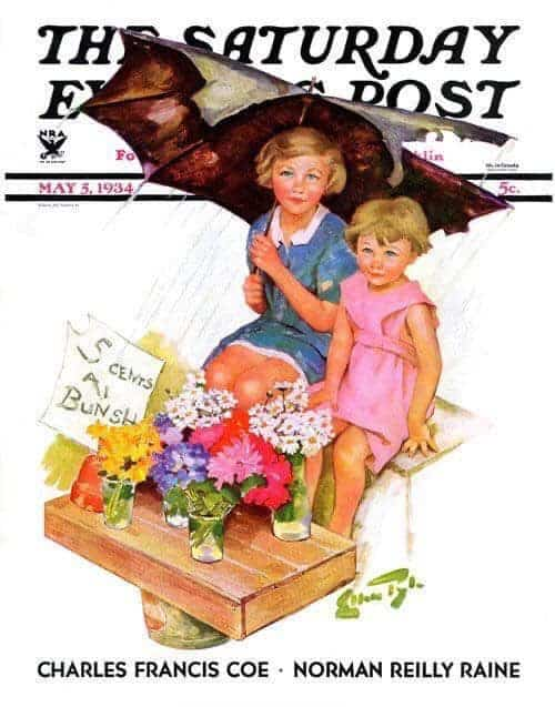 Saturday Evening Post cover by Ellen Pyle umbrella
