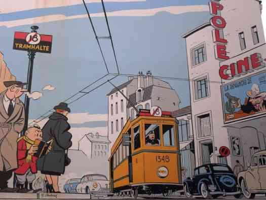 Yves Chaland (1957 - 1990) circa 1980 illustration for his own book Le Jeune Alber, tram