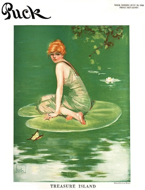 Art by Lou Mayer Puck Magazine woman on lilypad
