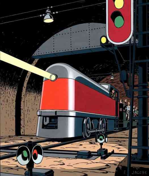 Edgar P. Jacobs (1904 - 1987) 1948 illustration for Le Journal de Tintin, a weekly magazine although this is probably for his Blake & Mortimer adventures