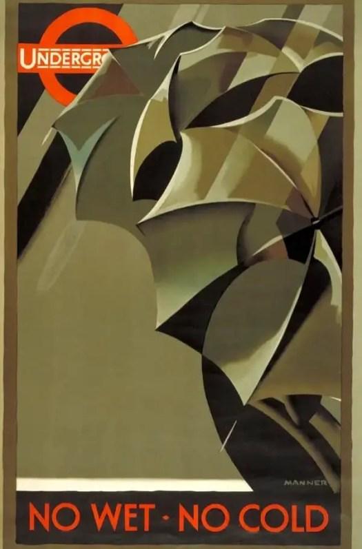 Frederick Schneider Manner for London underground, 1929 umbrellas