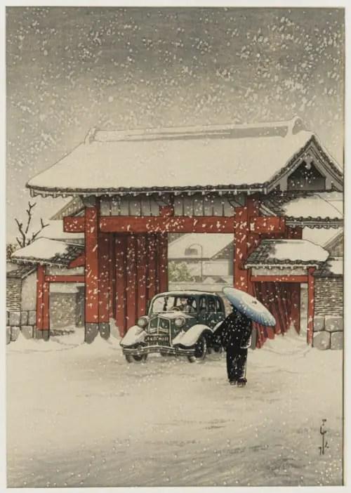 Kawase Hasui, The Great Gate, Shiba, in Snow, 1936