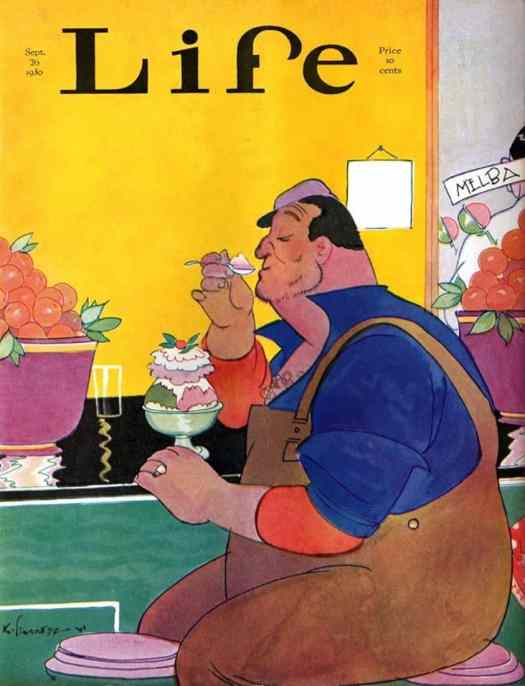 Kemp Starrett, Big Workman eating ice cream sundae with delicacy - Cover of September 26, 1930 Life magazine