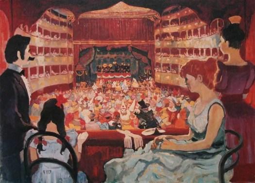 The Rossini Opera House in Pesaro (Rossini's hometown) - Illustration by Achille Wildi, 1969