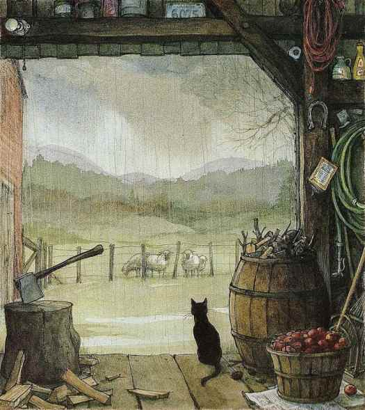 Trina Schart Hyman (1939 - 2004) in the book Cat Poems, by Myra Cohn Livingston barn