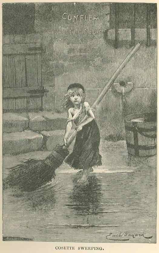 Émile-Antoine Bayard (1837-1891) 'Cosette sweeping' 1886 the little hero of Les misérables by Victor Hugo