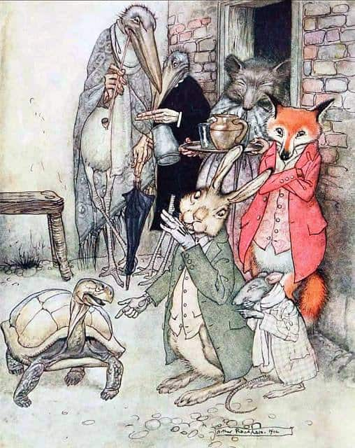 Arthur Rackham The Hare and the Tortoise from Aesop's Fables