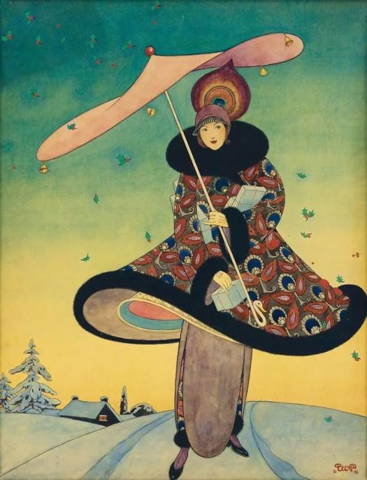 George Wolfe Plank (1883–1965) December 1913 illustration for Vogue magazine umbrella