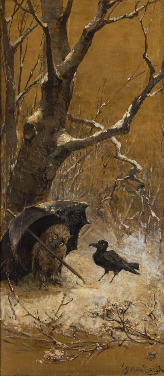 Jeanna Bauck (Swedish painter) 1840 - 1926 owl umbrella
