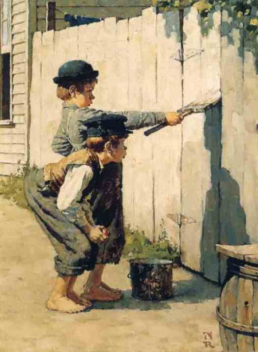 Norman Rockwell (1894-1978). Illustration for Mark Twain's novel 'The Adventures of Tom Sawyer.' Tom Sawyer and Huckleberry Finn 1936