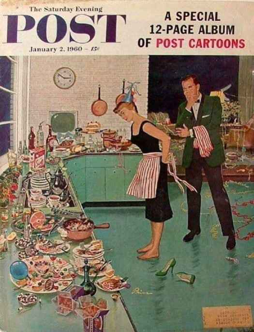 Norman Rockwell after party kitchen