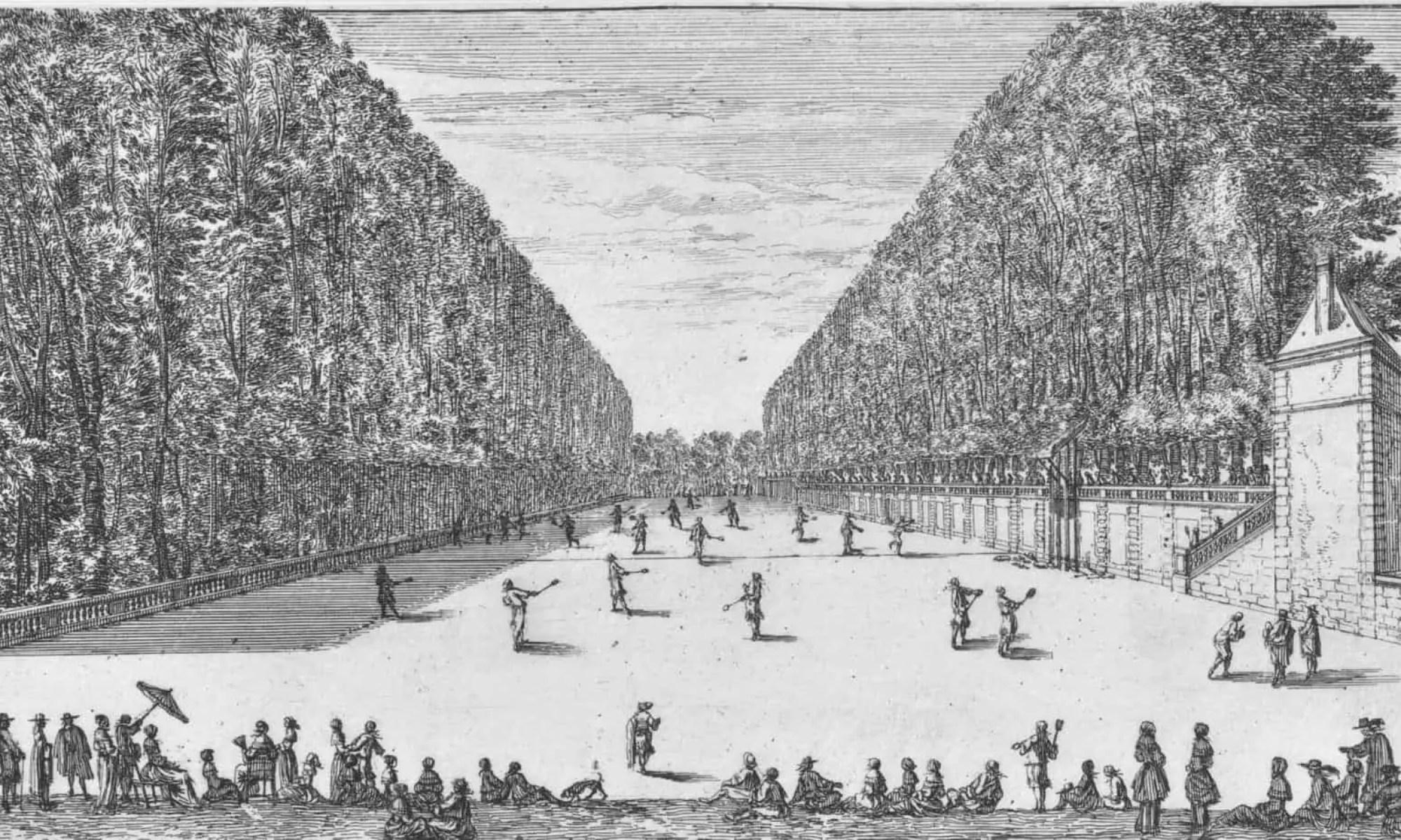 Tenniswedstrijd met toeschouwers bij kasteel Rochefoucauld, Israël Silvestre, 1656