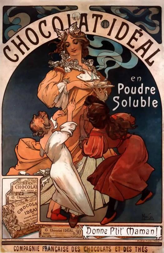 Alphonse Mucha Chocolat Ideal 1897 Art Nouveau