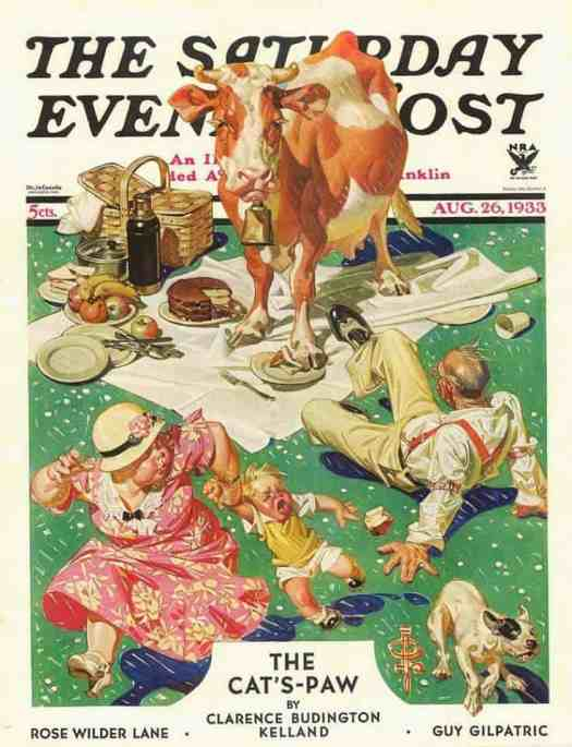 Humorous cover illustration of Cow joins the picnic for The Saturday Evening Post magazine, August 26, 1933