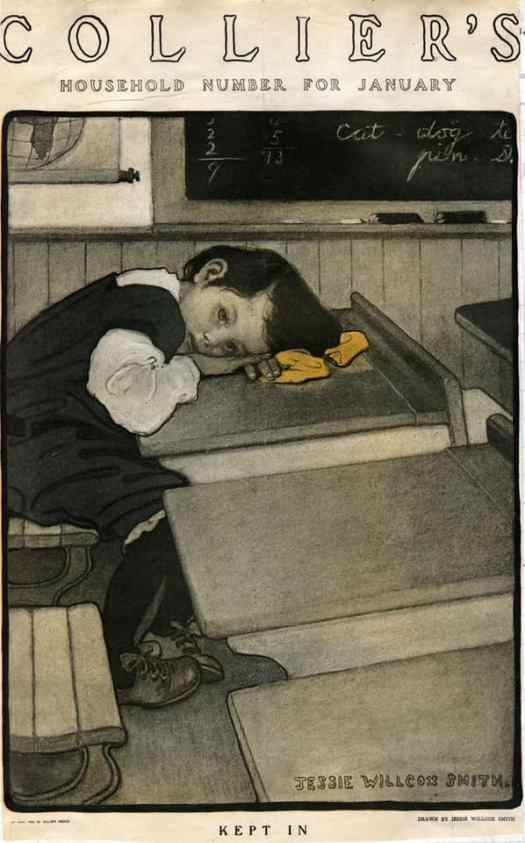 Jessie Wilcox Smith, cover for Collier's Magazine. January 1904 school