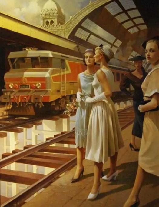 Stanislav Plutenko, b.1961 Russian  oil and tempera on canvas painting train station