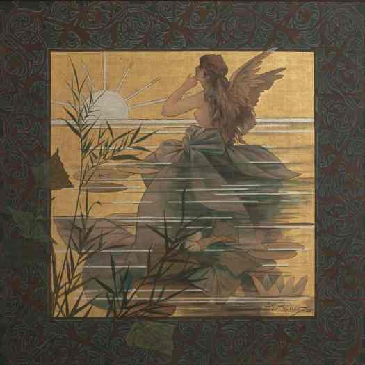 Alexandre de Riquer- Composition with winged nymph at sunrise
