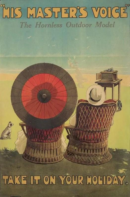 Gramophone advertisement Illustrated by John Hassall (1868-1948) umbrella