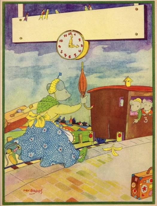 JUFFROUW SPITS OP REIS [c. 1948] Piet Broose time train umbrella