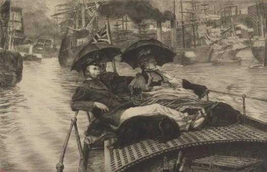 James Tissot holding umbrellas on a small ship