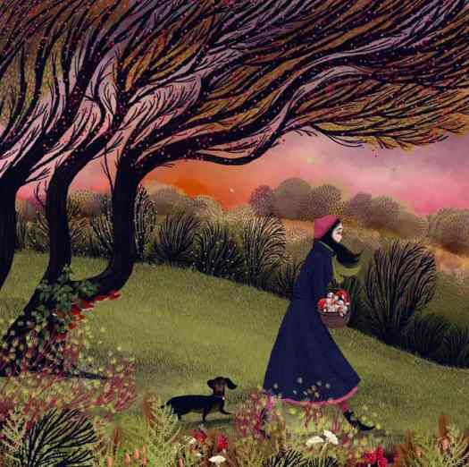 Art by Jane Newland for Emily Dickinson's poem about mushrooms